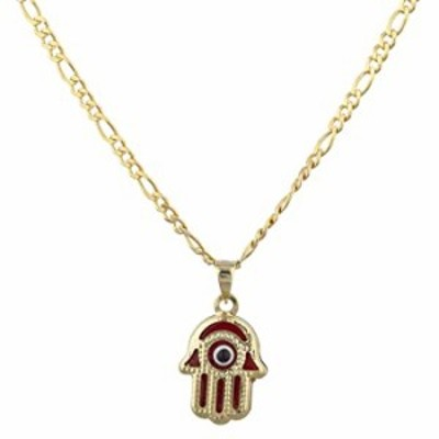 14k Yellow Gold Evil Eye Hamsa Hand Charm Pendant Necklace with a 18 inch Gold Overlay Figaro (Red) (RELG-67)