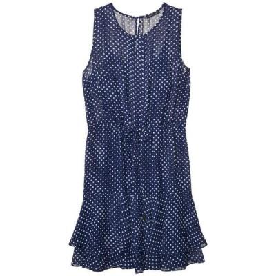 トミー ヒルフィガー ワンピース トップス レディース Chiffon Dot Flounce Hem Dress Twilight Blue/Ivory
