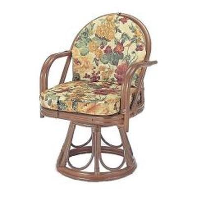 回転座椅子 ロータイプ ラタン チェア 籐家具 座面高43cm(  椅子 イス アジアン )