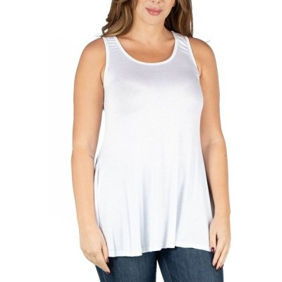 24セブンコンフォート カットソー トップス レディース Women's Plus Size Sleeveless Tunic Tank Top White
