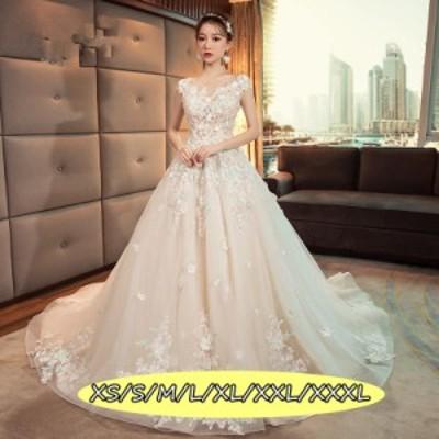 結婚式ワンピース お嫁さん 豪華な ウェディングドレス 花嫁 ドレス 高級刺繍 花柄 大人の魅力 ロング丈ワンピ-ス シャンパン色