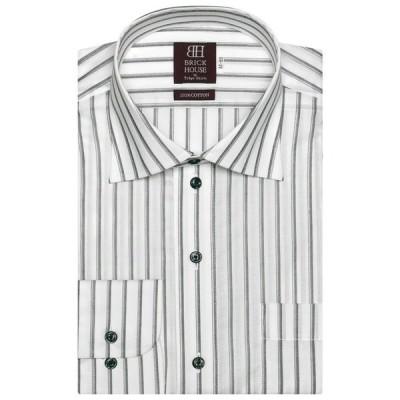 シャツ ブラウス 形態安定ノーアイロン ワイド 長袖ビジネスワイシャツ