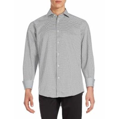 ブガッチ メンズ カジュアル ボタンダウンシャツ Houndstooth Button Down Sportshirt