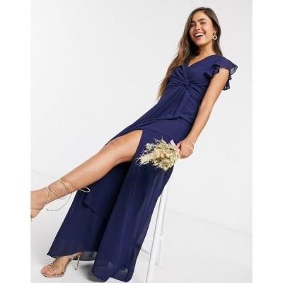 ティエフエヌシー レディース ワンピース トップス TFNC bridesmaid flutter sleeve ruffle detail maxi dress in navy Navy