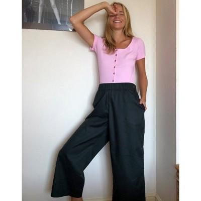 モンキ レディース カジュアルパンツ ボトムス Monki Vilja organic cotton wide leg pants in black