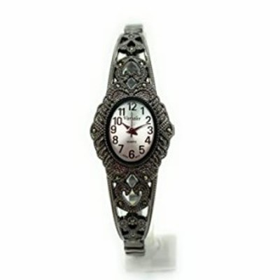 Ladies Elegant Oval Marcasite Stretch Elastic Band Fashion Watch Varsales (Black)