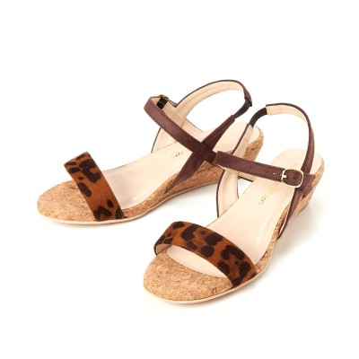 【ゆったり幅】内ゴムストラップウェッジサンダル(低反発中敷)(ワイズ4E) サンダル, Sandals