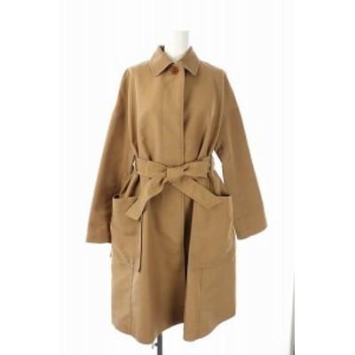 【中古】ルージュヴィフ Rouge vif ステンカラーコート スプリングコート ベルト付き ロング 38 茶 ブラウン /AO ■OS
