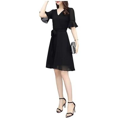 シフォンワンピース レディース 半袖 夏 春夏 aライン 切り替え vネック はんそで リゾート ドレス 黒(ミニ丈 ブラック, XL)