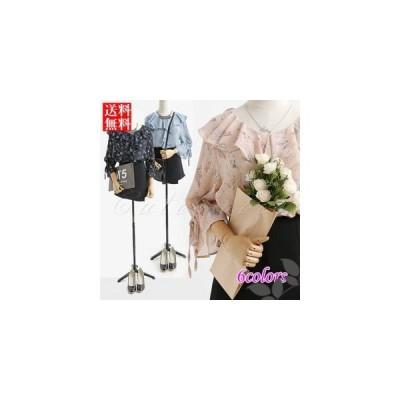 シフォンブラウス レディース 七分袖 フレアスリーブ 花柄 フリル リボン プルオーバー ファッション 薄手 おしゃれ 着痩せ トップス