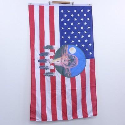 中古 旗 フラッグ オオカミ 星条旗 21mar17