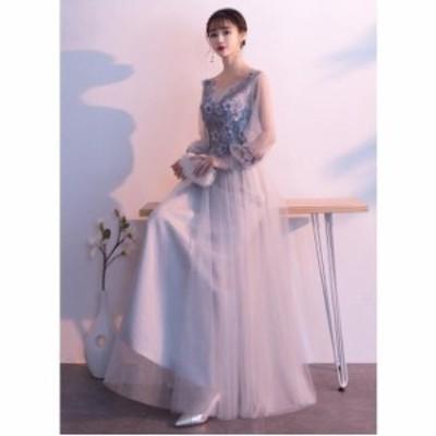 長いワンピース 素敵 3色入 プリンセスライン 人気 パーティードレス 花嫁 ウェディングドレス 結婚式 ブライダル 着痩せ キレイめ 大き