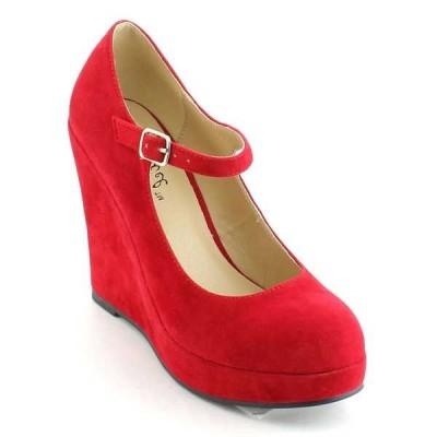 ヒール パンプス ビジネス シューズ 靴 海外厳選ブランド New レディース Closed Toe アンクルストラップ ウエッジ ヒール パンプスs DOLLY-1N RED