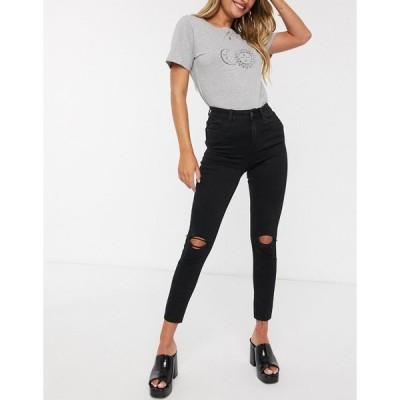 ニュールック ジーンズ レディース New Look shape and lift skinny jeans with rips in black エイソス ASOS ブラック 黒