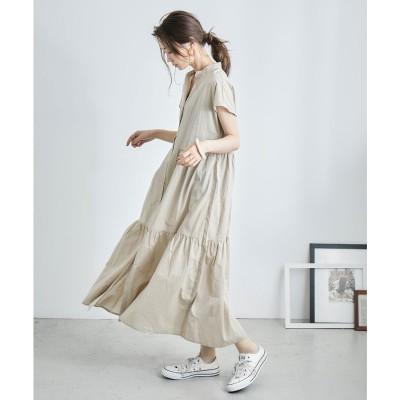 ファッションレター Fashion Letter フレンチスリーブティアードロングシャツワンピース 21SS (ベージュ)