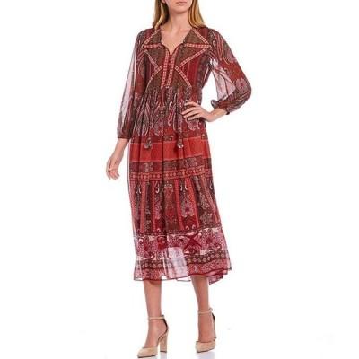 ギブソンアンドラティマー レディース ワンピース トップス Placement Print Georgette 3/4 Sheer Sleeve Midi Dress