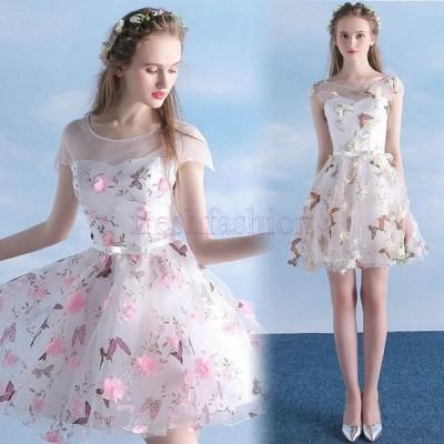 新品人気 ドレス  ミニドレス  ショート丈  パーティードレス 二次会 ウェディング ピンク パーティー   結婚式 二次会 披露宴  編み上げ