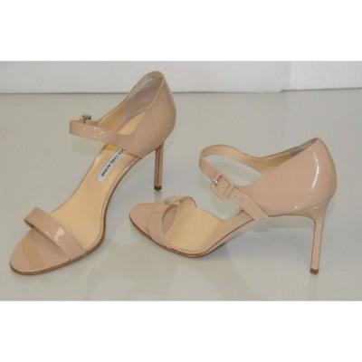ハイヒール マノロブラニク Manolo Blahnik Patent Nude Beige BB Heels Strappy Sandals Shoes 40.5