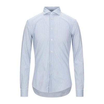 BRIAN DALES ストライプ柄シャツ ファッション  メンズファッション  トップス  シャツ、カジュアルシャツ  長袖 スカイブルー
