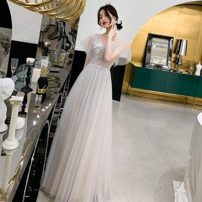 カラードレス 演奏会用ドレス 半袖 ロングドレス パーティードレス  ウェディングドレス 発表会 結婚式 ピアノ 二次会 ドレス 前撮り 結婚式 花嫁 コンサート