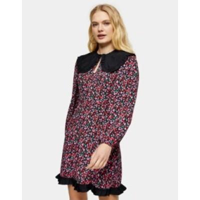 トップショップ レディース ワンピース トップス Topshop oversized collar mini tea dress in multi Multi