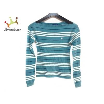 バーバリーブルーレーベル 長袖セーター サイズ38 M レディース - ブルーグレー×白×ネイビー 新着 20210131