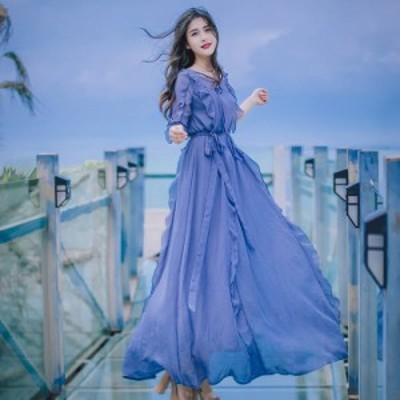 パーティードレス ロング丈 パーティードレス 袖あり 大きいサイズ ロング ワンピース ドレス ロング ワンピース マキシ ワンピース ロン