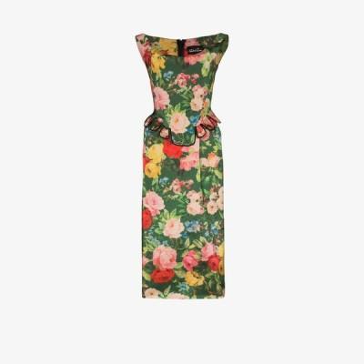 リチャード クイン Richard Quinn レディース パーティードレス ワンピース・ドレス floral print peplum midi dress green
