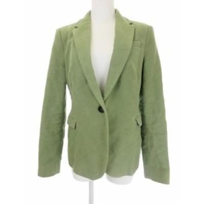 【中古】ザラ ベーシック ZARA BASIC ジャケット テーラード 総裏地 エルボーパッチ M 緑 グリーン レディース