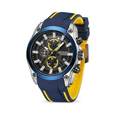 MEGIR Men's Analogue Sport Chronograph Luminous Quartz Watch with Fashion Silicone Strap (2144 Blue)
