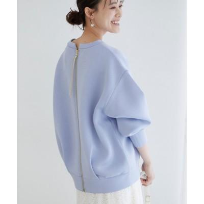 ビス/【モイストスフレタッチ】バックフルジッププルオーバー/ブルー/F