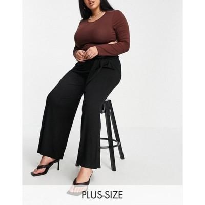 ユアーズ レディース カジュアルパンツ ボトムス Yours Exclusive tie waist wide leg pants in black