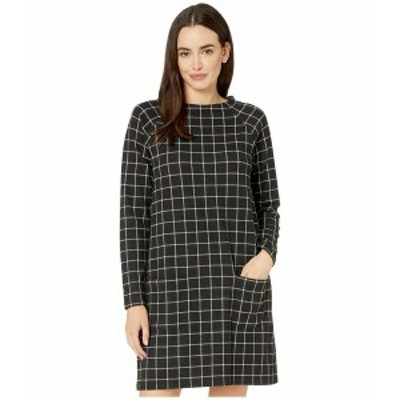 モッドドック レディース ワンピース トップス Windowpane Plaid Knit Raglan Sleeve Funnel Neck Dress Black