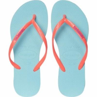 ハワイアナス Havaianas レディース ビーチサンダル シューズ・靴 Slim Logo Flip Flops Ice Blue/Coral New