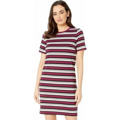 マイケル コース MICHAEL Michael Kors レディース ワンピース Tシャツワンピース ワンピース・ドレス Uneven Stripe T-Shirt Dress Bone/Garnet