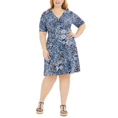 マイケルコース ワンピース トップス レディース Plus Size Paisley-Print Dress True Navy