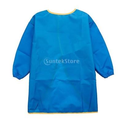 子供対応 長い袖 エプロン 絵画用 陶芸用 作業服 通気性 防水 着用 便利 全3サイズ6色選ぶ - 青, L