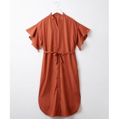 フレアスリーブ。スキッパーロングシャツワンピース (ワンピース)Dress