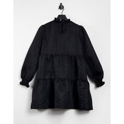 キューイーディーロンドン レディース ワンピース トップス QED London high neck jacquard tiered smock dress in black