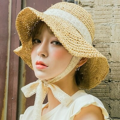 新作 ハット 麦わら帽子 リボン UVカット 日焼け止め レディースファッション 周り56-58cm