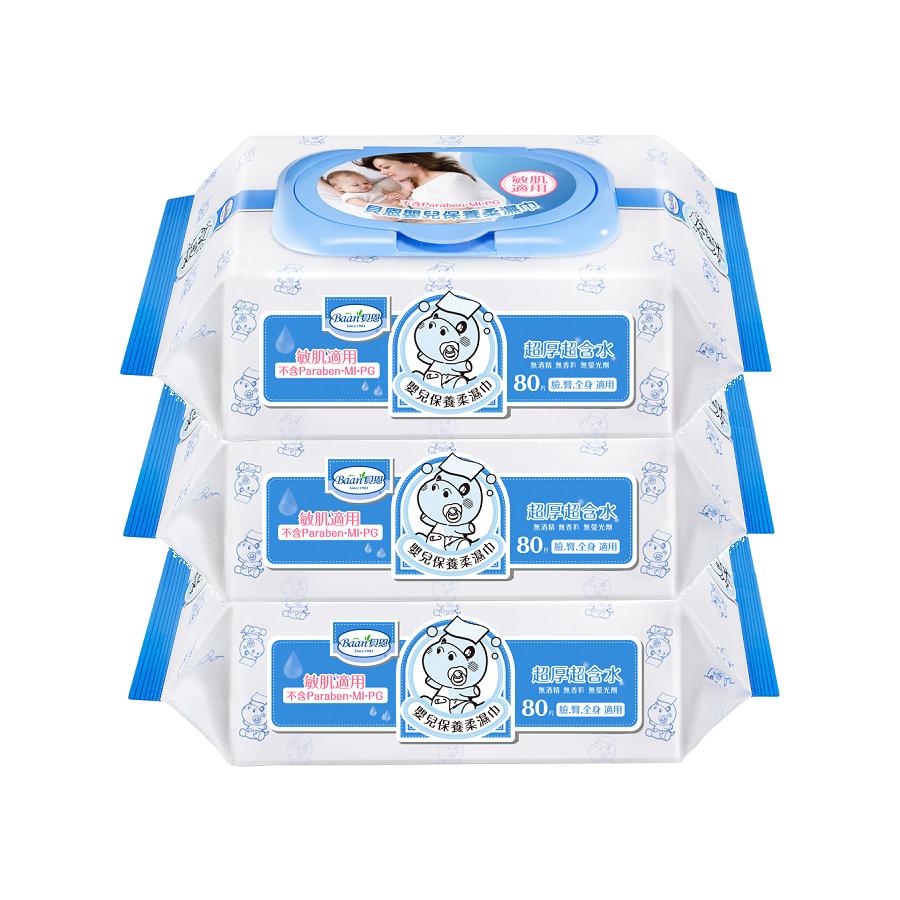 貝恩 Baan 全新配方嬰兒保養柔濕巾80抽X24包(箱購) 貝恩濕紙巾