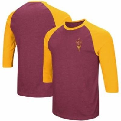 Colosseum コロセウム スポーツ用品  Colosseum Arizona State Sun Devils Maroon/Gold Raglan 3/4-Sleeve T-Shirt