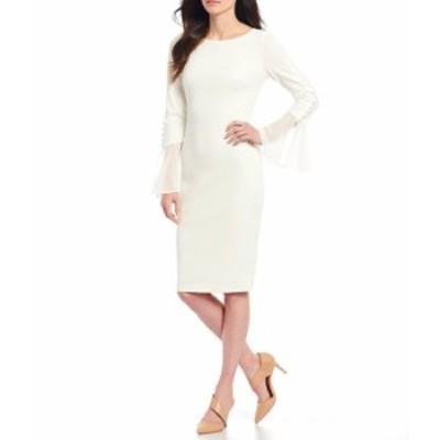 カルバンクライン レディース ワンピース トップス Chiffon Bell Sleeve Sheath Dress Cream