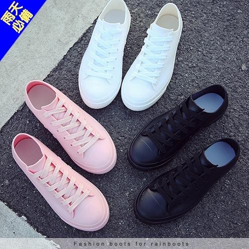 女款 經典帆布造型雨鞋 防水防滑 需綁帶 防水鞋 雨鞋 小白鞋 短筒雨靴 帆布鞋 59鞋廊