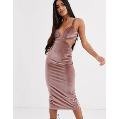エイソス ASOS DESIGN レディース ワンピース ミドル丈 ワンピース・ドレス cut out velvet buckle back detail midi dress ピンク