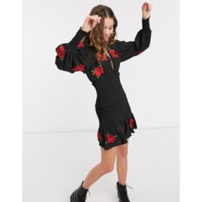 エイソス レディース ワンピース トップス ASOS DESIGN shirred mini dress with all-over rose embroidery in black Black