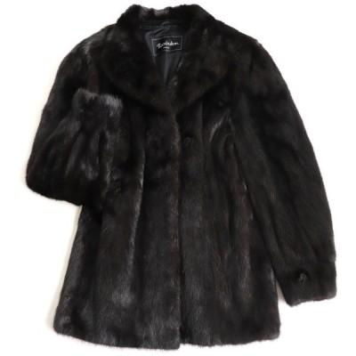 美品▼Rambulton(ONWARD) MINK ランブルトン(オンワード) ミンク 本毛皮コート ダークブラウン(ブラックに近い) 艶やか・柔らか◎
