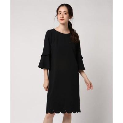 ドレス スカラップ刺繍フレアスリーブワンピース