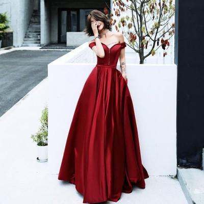 ロングドレス Aライン カラードレス パーティードレス 結婚式 ウェディングドレス 二次会ドレス イブニングドレス 大きいサイズ 演奏会 お花嫁ドレス 姫系
