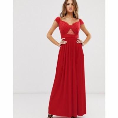 エイソス ASOS DESIGN レディース ワンピース マキシ丈 ワンピース・ドレス Premium lace and pleat bardot maxi dress ブライトレッド